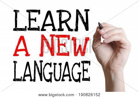 Handwriting Learn a new language on the virtual screen. Language learning concept.