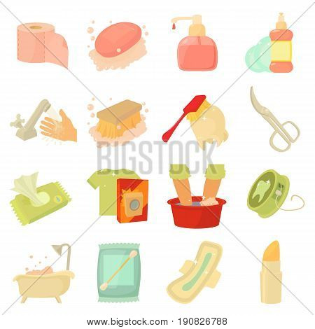 Hygiene cleaning icons set. Flat illustration of 16 hygiene cleaning vector icons for web