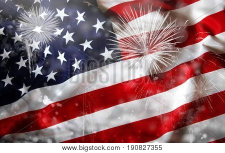 Celebrating Independence Day. United States of America USA flag with fireworks background for 4th of July