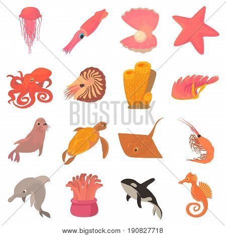 Ocean animals fauna icons set. Cartoon illustration of 16 ocean animals fauna vector icons for web