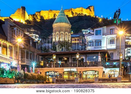 Tbilisi, Georgia - November 08, 2016: beautiful view of illuminated Zion Church in Tbilisi at night, Georgia