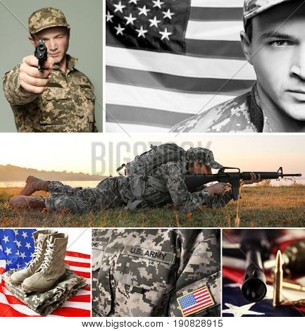 Collage for military service concept