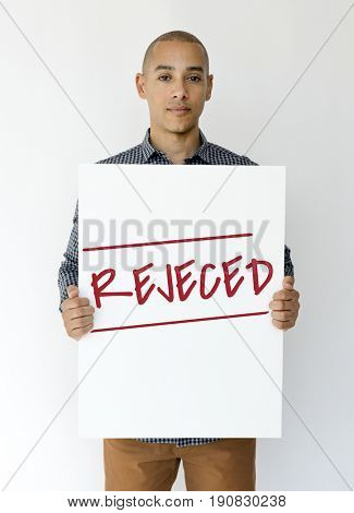 Man hold caution alert sign