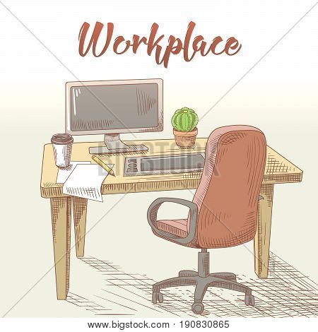 Professional Graphic Designer Hand Drawn Workplace with Table, Computer and Tablet. Creative Work. Vector illustration