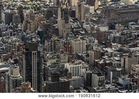 Aerial shot of generic office and residential buildings in Manhattan, New York City