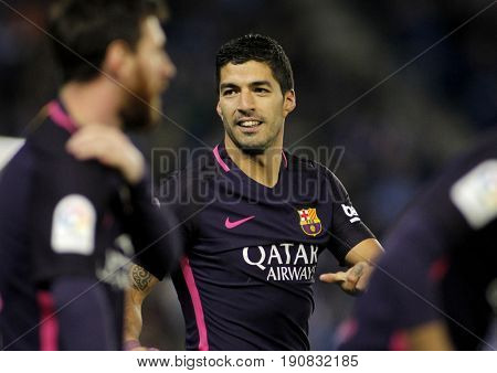 BARCELONA, SPAIN - APRIL, 29: Luis Suarez of FC Barcelona celebrating goal during a Spanish League match against RCD Espanyol at the RCDE Stadium on April 29 2017, in Barcelona Spain