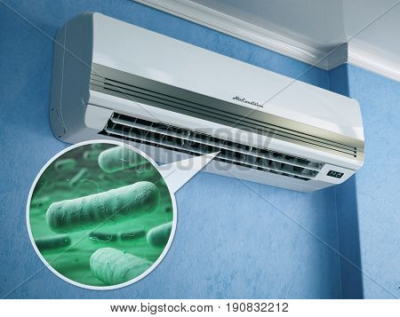Air conditioner and bacterias llebsiella or legionella pneumophila. 3d illustration