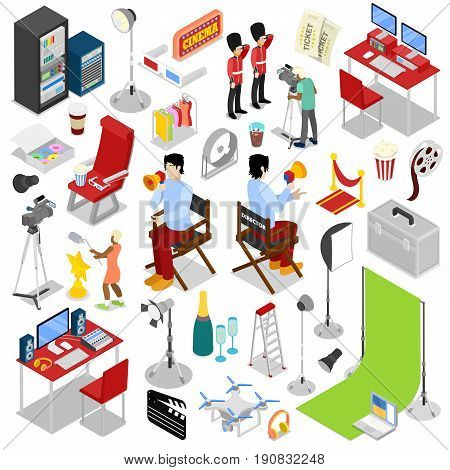 Isometric Cinema Production. Making Movie with Director and Cameraman. Vector flat 3d illustration