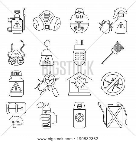 Pest control tools icons set. Outline illustration of 16 pest control tools, vector icons for web