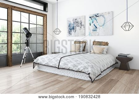 Minimalist design bedroom concept with white wall, paintings and wide bed on wooden floor and telescope on tripod near huge window. 3d rendering