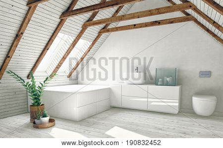 Modern bathroom in attic room with roof framework visible, white walls, bright roof window and indoor plants. 3d rendering