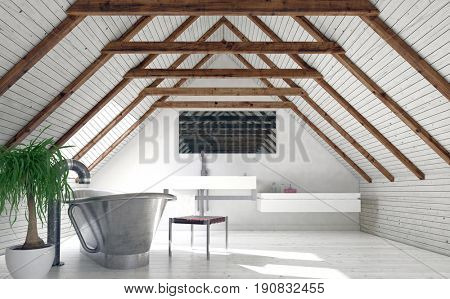 Modern monochromatic white loft bathroom in a converted attic with a stylish boat-shaped tub and wall-mounted vanity below a mirror in the pitch of the roof. 3d rendering