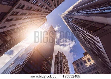 low angle shot of office towers in the sun, Manhattan financial district, New York City