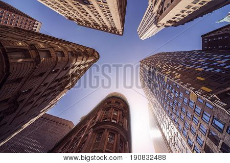 low angle shot of highrise office towers in Manhattan financial district, New York City