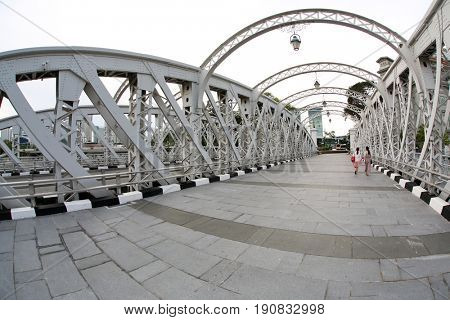 SINGAPORE 1 June 2017 : Anderson footbridge across the Singapore River was opened in 1910