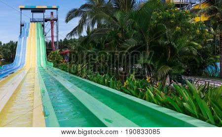 water slides in tropical aquapark