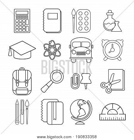 School education icons set. Outline illustration of 16 school education vector icons for web