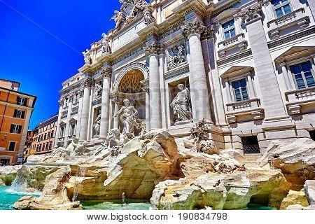 Rome Trevi Fountain, Fontana Di Trevi In Rome, Italy