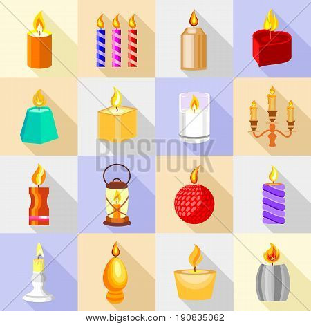 Candle forms icons set flame light. Cartoon illustration of 16 candle forms flame light vector icons for web