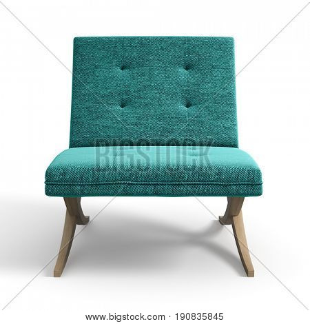 Armchair isolated white background 3D rendering