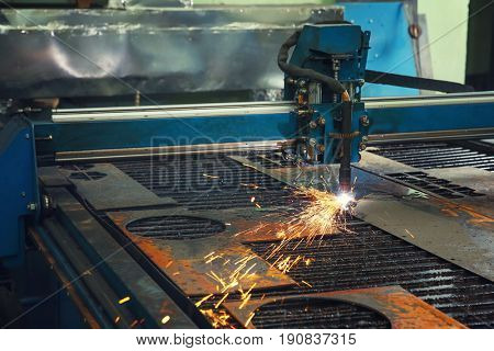 CNC machine for metalworking in shop