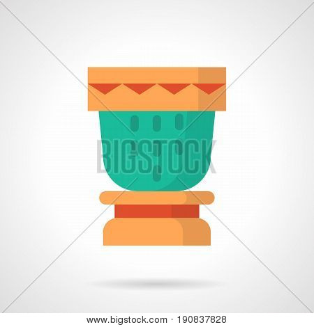 Abstract symbol of percussion musical instrument. Drum party on seaside, exotic vacations. Flat color style vector icon.