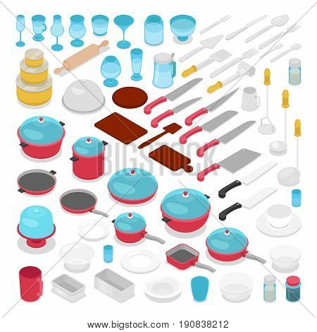 Isometric Kithen Utensils Cutlery Collection with Knifes, Pots and Glasses. Vector flat 3d illustration