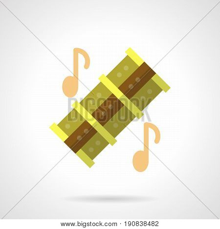 Abstract symbol of musical reed pipes and notes. Woodwind music instruments. Flat color style vector icon.