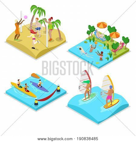 Isometric Outdoor Sea Beach Activity. Kayaking, Beach Volleyball, Surfing and Water Polo. Healthy Lifestyle and Recreation. Vector flat 3d illustration