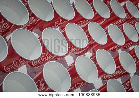 BELGRADE SERBIA - APRIL 22: 30th Belgrade marathon. Coca Cola water cups for marathon runners on refreshment point. More than 20000 participants in the Belgrade marathon participated in the race of pleasure.