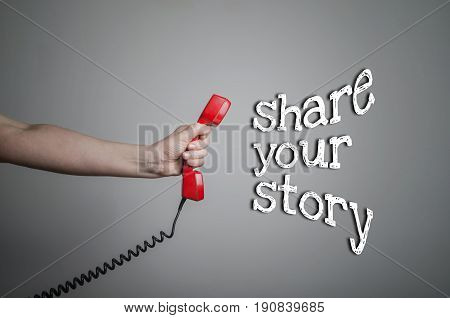 Share your story concept. Sharing, promotion, business concept.