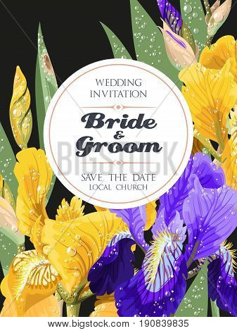 Vector wedding invitation with iris flowers with droplets