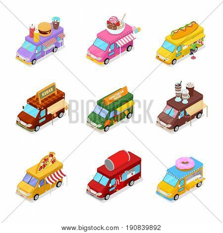 Isometric Street Food Truck Set with Vegeterian Food, Burger, Kebab, Hot Dog and Ice Cream Cafe. Vector flat 3d illustration