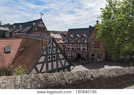 IDSTEIN, GERMANY-JUNE 12, 2017: View of the Koenig-Adolf-Platz, Hesse, Germany