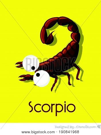 Creepy Funny Scorpion - Vector Stock Illustration