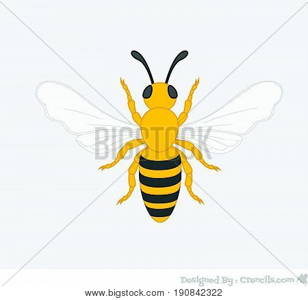 Creepy Bee Insect - Vector Stock Illustration