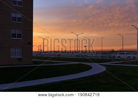 Sunrise In Rockaway Park, New York, Usa