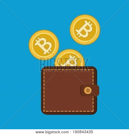 Bitcoin with wallet flat design, Digital or virtual coin, vector illustration eps10