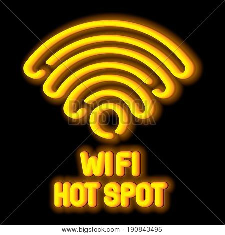 Wireless Network Symbol Concept with Wi Fi hot spot on black background vector illustration