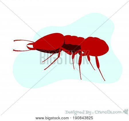 Red Creepy Dangerous Fire Ant Insect Vector Illustration