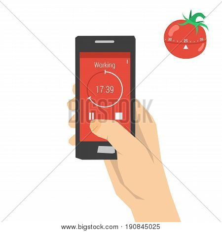 Vector concept time management. The timer in the form of tomato for effective distribution of time and the same mobile app installed on smart phone