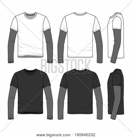 Sport long sleeved t-shirt with layered sleeve. Blank vector templates of male clothing set.