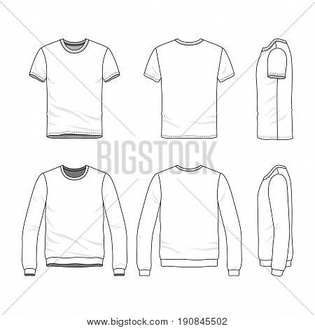 Vector clothing templates. Blank t-shirt and sweatshirt. Fashion set of sportswear. Line art illustration.