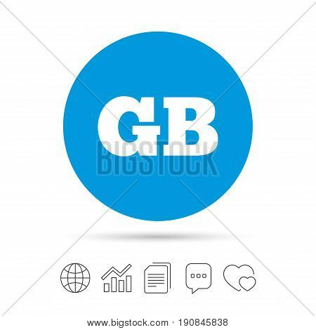 British language sign icon. GB Great Britain translation symbol. Copy files, chat speech bubble and chart web icons. Vector