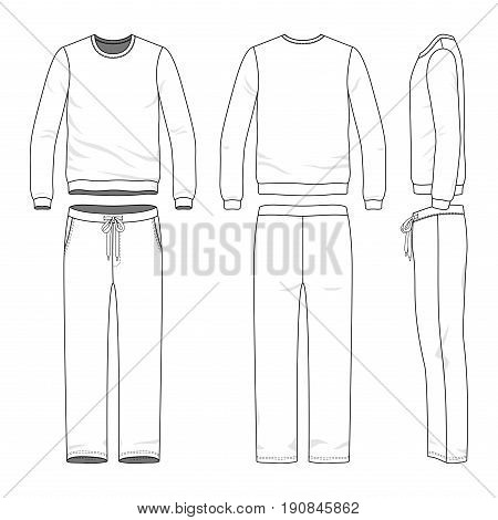 Male track suit. Blank vector templates of sweatshirt and sweatpants. Clothing set. Line art design.