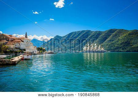 Sailfish And Harbor At Sunny Day In Boka Kotor Bay (boka Kotorska), Montenegro, South Europe.