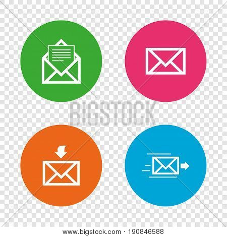 Mail envelope icons. Message document delivery symbol. Post office letter signs. Inbox and outbox message icons. Round buttons on transparent background. Vector