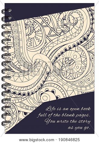 Hand drawn abstract tangled zen pattern for decorate book notebook case stationery. Mock up of the notebook. A5 template. EPS 10