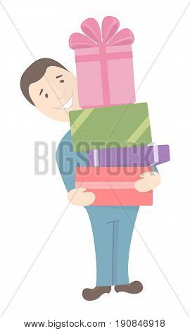 Smiling man holding a stack of boxes with gifts