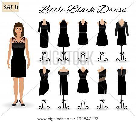 Fashion model woman in little black dress. Set of cocktail dresses on a mannequins. Flat vector illustration.